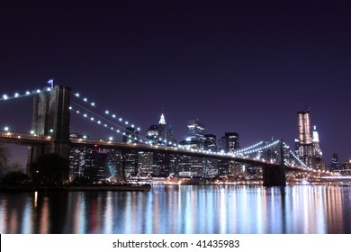 Brooklyn Bridge and Manhattan skyline At Night Lights, NYC