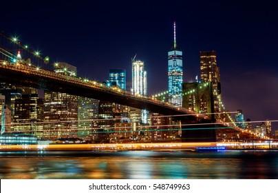 Brooklyn Bridge and Manhattan Skyline Night, New York City