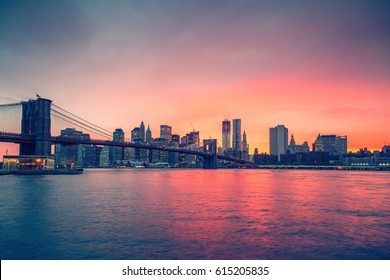 Brooklyn bridge and Manhattan at sunset, New York City