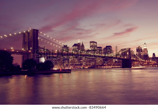 Brooklyn Bridge and Manhattan at sunset, New York