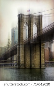 Brooklyn bridge motion blur city, New York