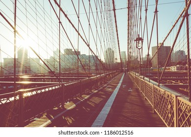 Brooklyn Bridge in New York City. Famous landmark in USA at morning light.
