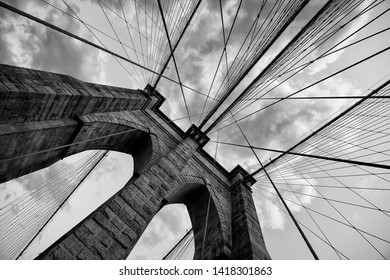 Brooklyn Bridge New York City close up architectural detail in timeless black and white
