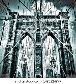 Brooklyn Bridge New York City NYC Moody Black and White Architecture Clouds