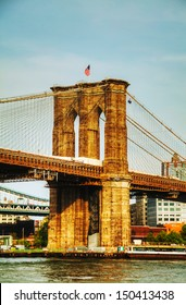 Brooklyn bridge in New York City on a sunny day