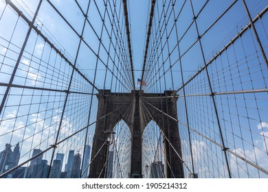 Brooklyn Bridge in New York City with complex cables installed