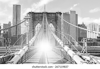 Brooklyn Bridge in New York City, old black and white film style, USA.