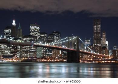 Brooklyn Bridge and New York City Skyline