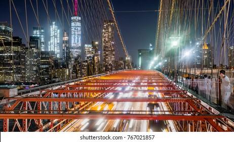 Brooklyn Bridge, New York City Skyline Night Traffic