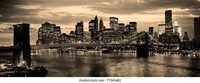 Brooklyn Bridge in new York City over the East River