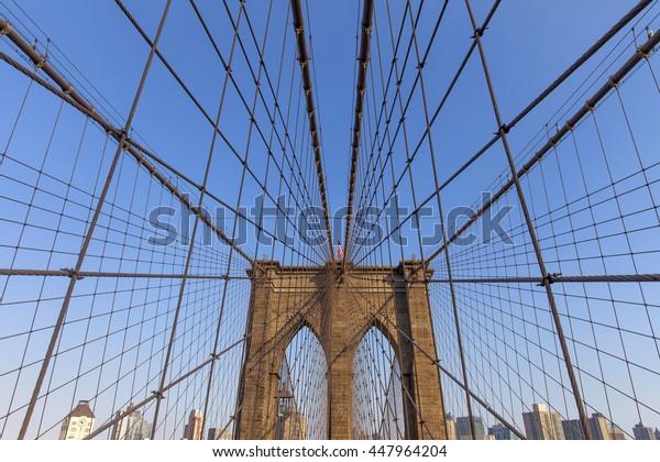 Brooklyn bridge in New York during blue hour