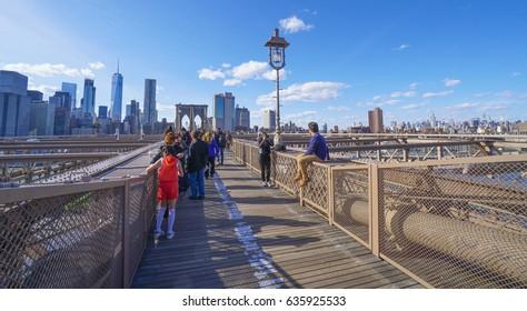 Brooklyn Bridge New York - a famous landmark- MANHATTAN / NEW YORK - APRIL 1, 2017