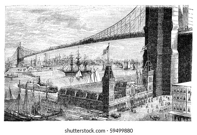 "Brooklyn bridge in New York. Illustration originally published in Hesse-Wartegg's ""Nord Amerika"", swedish edition published in 1880."