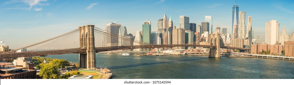 Brooklyn Bridge in New York. Panoramic view.