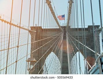 brooklyn bridge in new york in sunset light