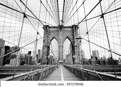 Brooklyn Bridge, New York, USA. Beautiful view of Manhattan, downtown, NYC. Midtown panorama in financial district. Business and travel black and white background. Vintage, retro postcard.