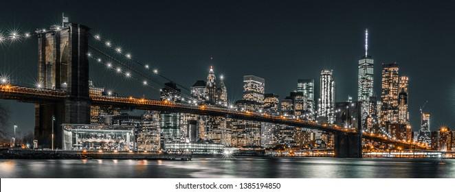 Brooklyn bridge night exposure at rush hour