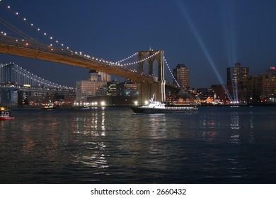 Brooklyn Bridge at Night Illuminated by Floodlights