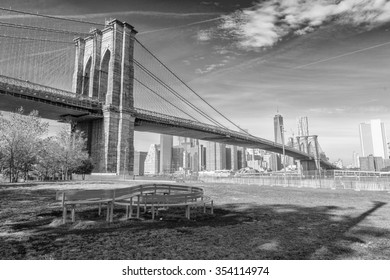 The Brooklyn Bridge on a sunny day. New York City, USA.
