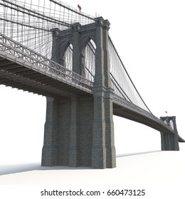 Brooklyn Bridge on white. 3D illustration
