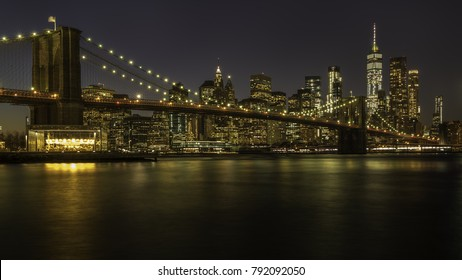 Brooklyn Bridge, The One, Manhattan Skyline New York by night