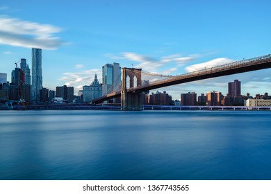 Brooklyn bridge park by east river NYC cityscape skyline, NYC USA
