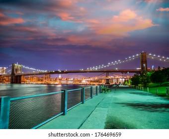 Brooklyn Bridge Park Promenade at summer night