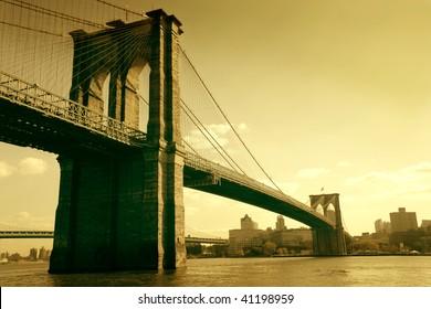 brooklyn bridge in sepia colour