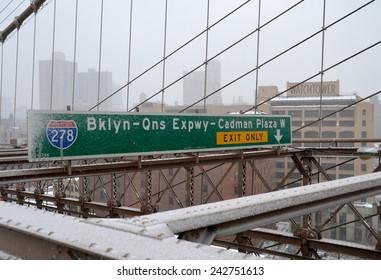 Brooklyn Bridge Sign in New York City, USA