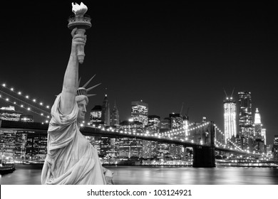 Brooklyn Bridge and The Statue of Liberty at Night Lights, New York City