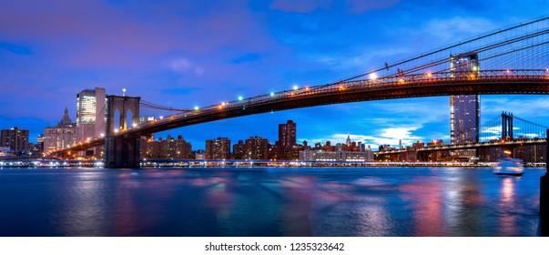 Brooklyn bridge and sunrise with Manhattan background, New york city, USA, United stated of America