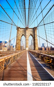 Brooklyn Bridge at sunrise, New York City, USA.