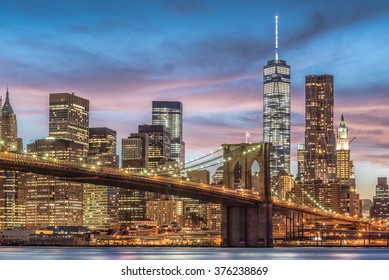 Brooklyn Bridge with sunset, New York City, USA