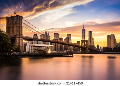 Brooklyn Bridge at sunset viewed from Brooklyn Bridge park