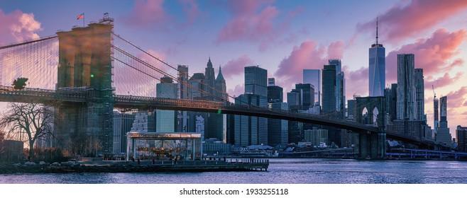 Brooklyn bridge view to Downtown  Manhattan, New York, United States. 03.07.2021