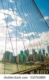 Brooklyn bridge. View on Manhattan. New York. USA