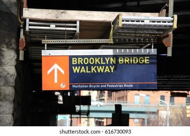 Brooklyn Bridge Walkway sign