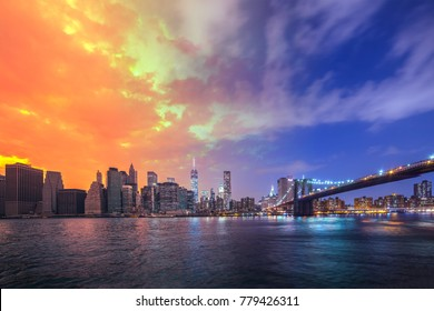 Brooklyn Bridge in a warm summer Day to Night New York City, USA