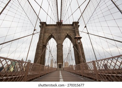Brooklyn Bridge in the winter in the morning, New York City, USA.
