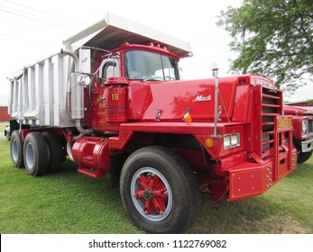 Brooklyn, Connecticut / USA - June 24 2018: A 1985 Mack RD-800 dump truck on display at the Brooklyn fairgrounds for the ATHS Nutmeg Chapter Truck Show