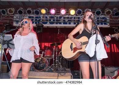 BROOKLYN, CT/USA - AUGUST 26 2016: Country singers Annie Brobst and Chelsey Carter perform at the Brooklyn Fair.
