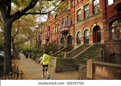 Brooklyn Heights, Brooklyn, New York, USA - October. 27. 2012: Terraced house in the neighborhood of Brooklyn Heights, upper  middle class residential neighborhood, Brooklyn New York