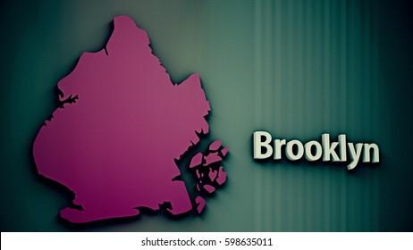 Brooklyn Map Shape 3D Illustration