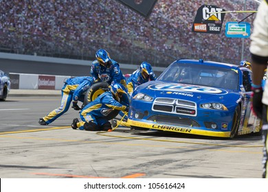 BROOKLYN, MI - JUN 17, 2012:  Brad Keselowski (2) brings in his car for service during the Michigan International Speedway in Brooklyn, MI on June 17, 2012.