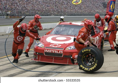 BROOKLYN, MI - JUNE 13: Juan Pablo Montoya comes in for a pit stop during the Heluva Good! Sour Cream Dips 400 race at the Michigan International Speedway on June 13, 2010 in Brooklyn, MI.