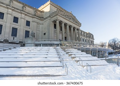 The Brooklyn Museum clad in ice and snow the morning after the Blizzard of 2016 in the Prospect Heights neighborhood of Brooklyn, New York.