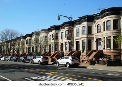 BROOKLYN, NEW YORK - APRIL 19, 2016: New York City brownstones at historic Prospect Heights in Brooklyn