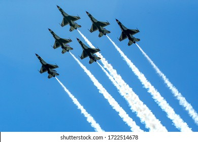 BROOKLYN, NEW YORK - APRIL 28, 2020: Air Force's Thunderbirds flew over New York City in a salute to health care workers, first responders, and other essential personnel during the coronavirus COVID-1