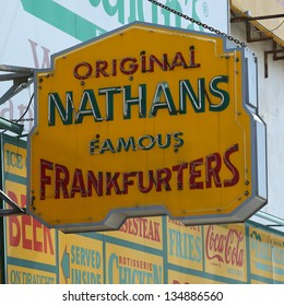 BROOKLYN, NEW YORK - APRIL 9 : The Nathan's original restaurant sign on April 9, 2013 at Coney Island, New York. The original Nathan's still exists on the same site that it did in 1916.