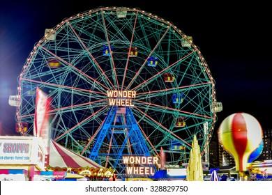 Brooklyn, New York - August 28, 2015: Wonder Wheel: Coney Island's Luna Park in Brooklyn, New York.